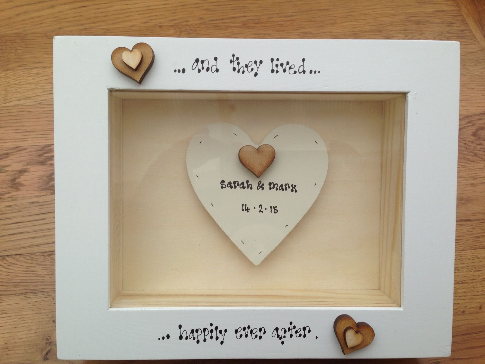 Shabby personalised chic box frame gift bride groom wedding present negle Images