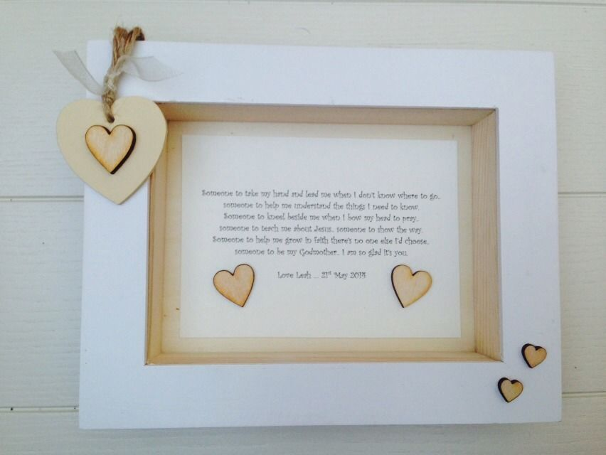 Shabby Personalised Chic Box Frame Gift Christening Godmother ...