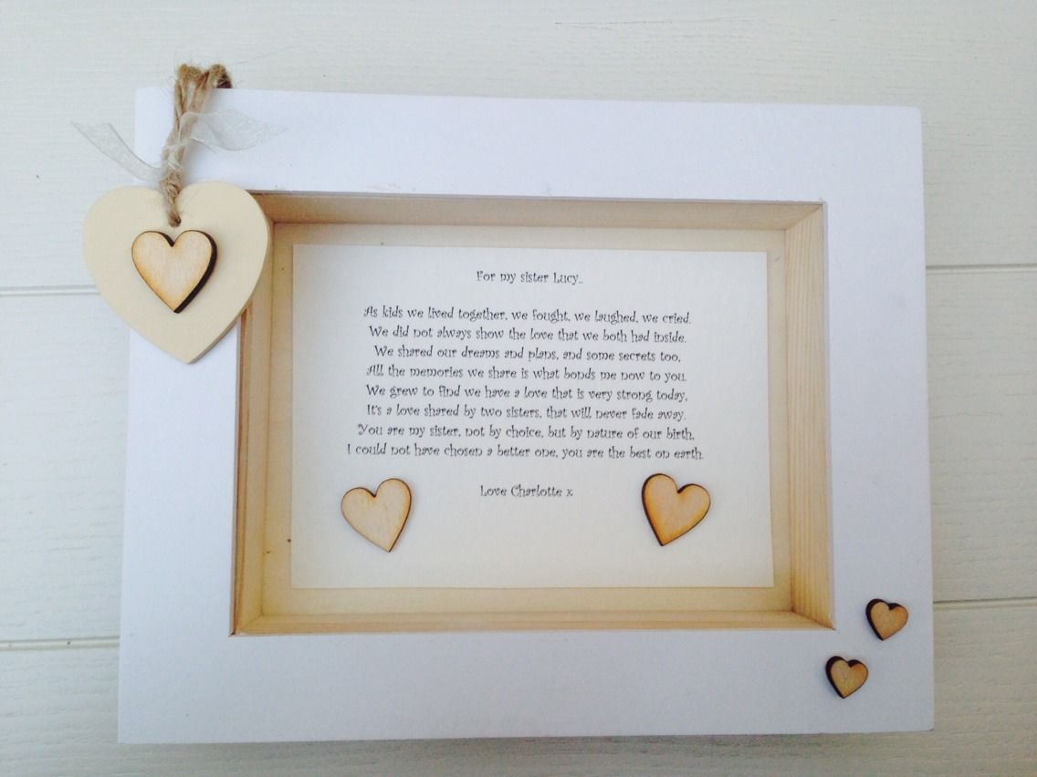 Wedding Gift Amount Sister : ... Personalised Chic Box Frame Special Gift Sister .. Friend.. Cousin