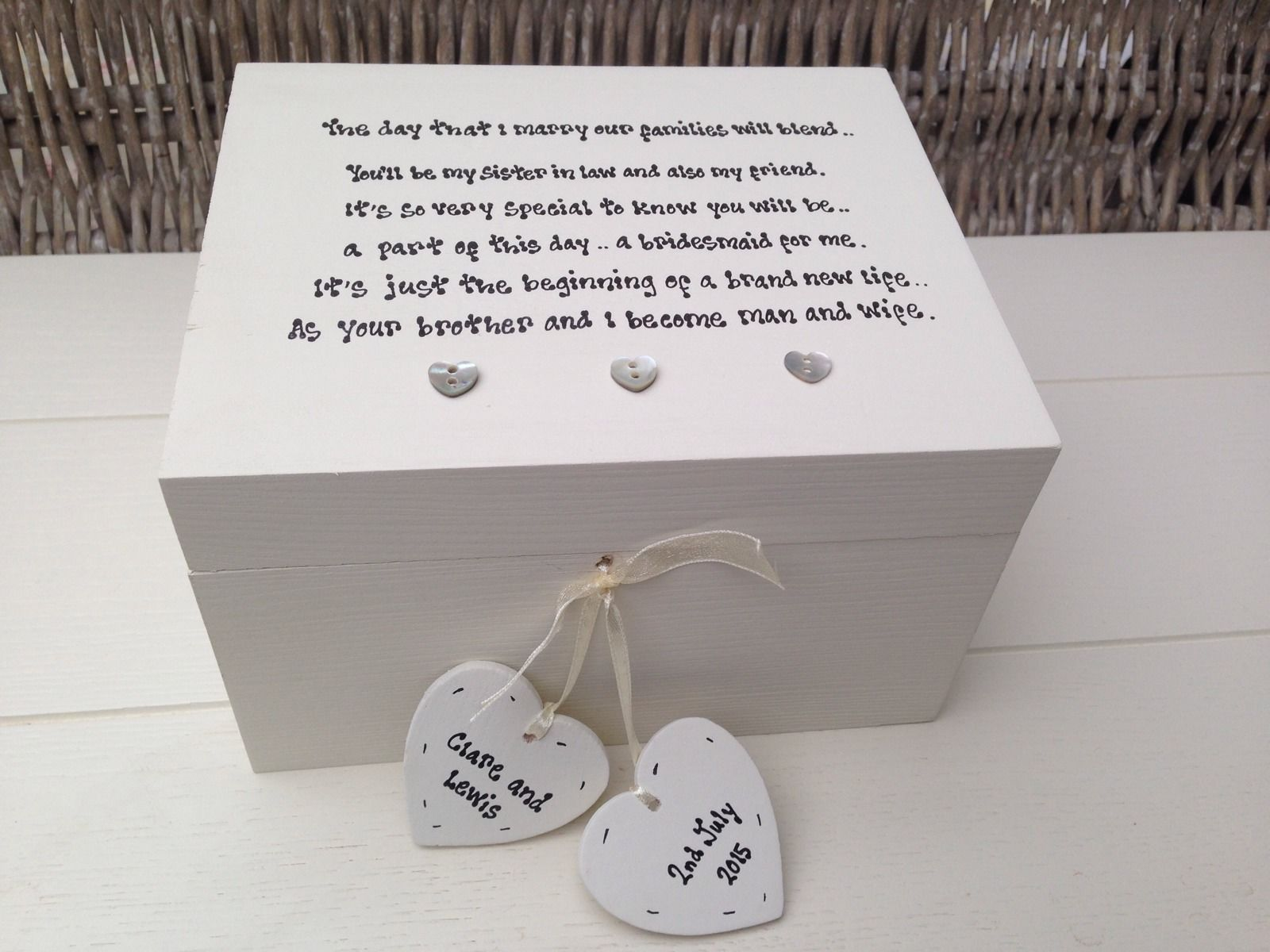 Wedding Gifts For Sisters: Shabby Personalised Chic Bridesmaid Sister In Law Wedding