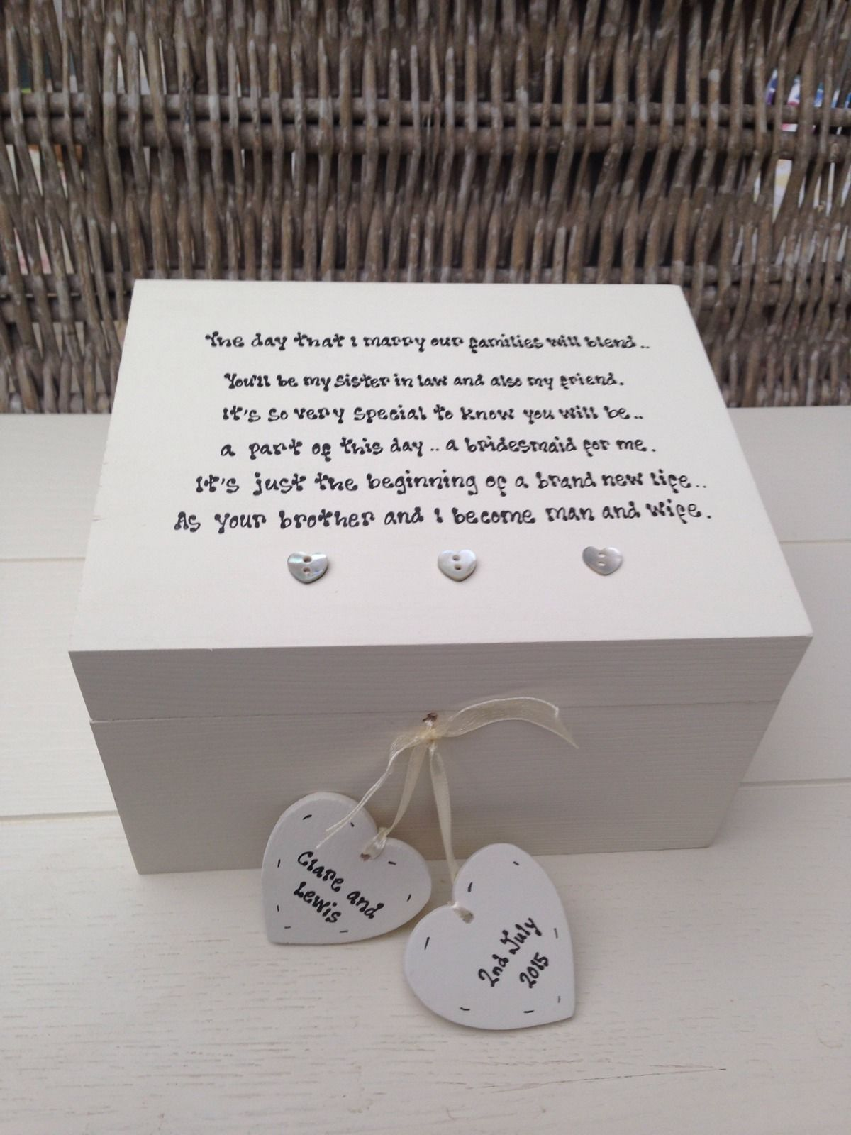 ... Personalised Chic Bridesmaid Sister In Law Wedding Gift Jewellery Box