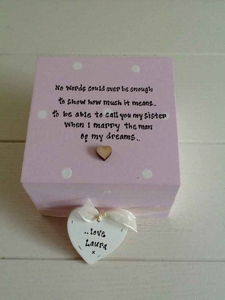 Wedding Gifts For Bride From Sister In Law : ... Chic Gift For Sister In Law From Bride.. Wedding Trinket Box