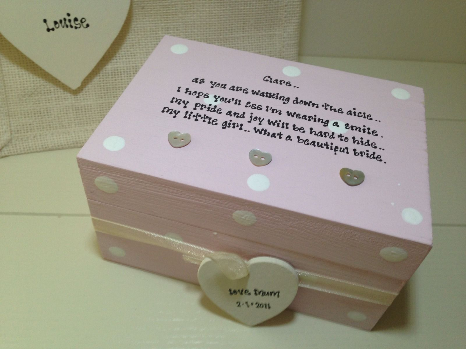 Shabby Personalised Chic Gift For The Bride From Mum Daughter Wedding ...