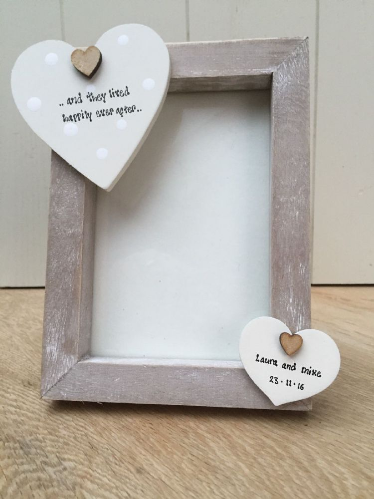 Shabby personalised Chic Photo Frame Bride & Groom Wedding Day Gift