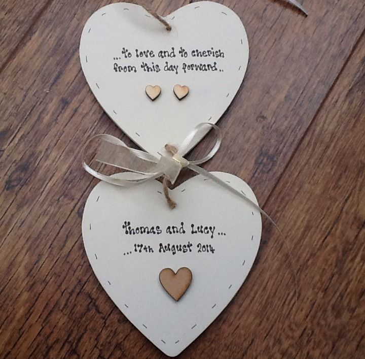 Shabby personalised Gift Chic Double Heart Plaque Wedding Gift Bride ...