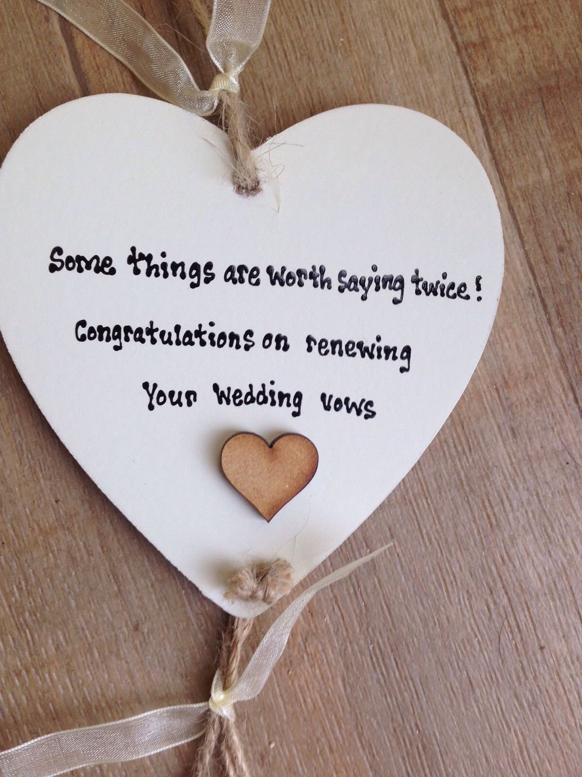... personalised Gift Chic Heart Plaque Renewing Renewel Wedding Vows Gift