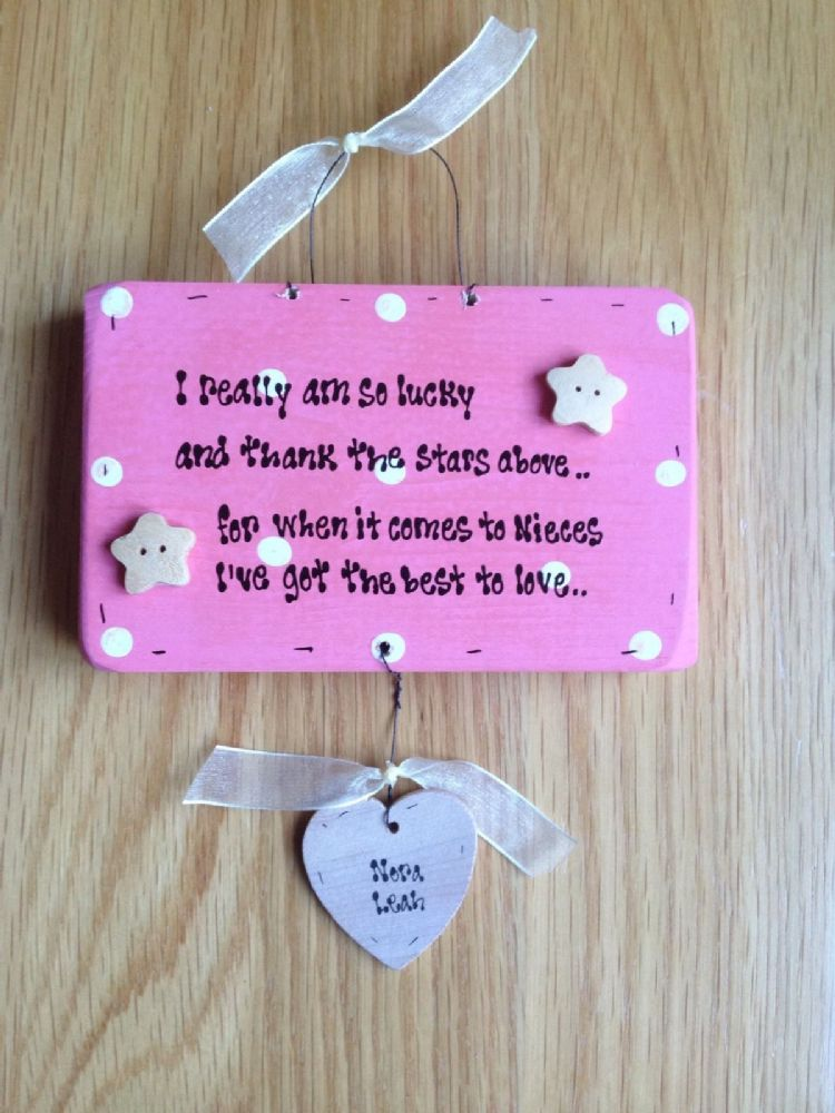 Special Wedding Gift For Niece : Shabby Wooden chic plaque Special Niece Personalised gift Any Names