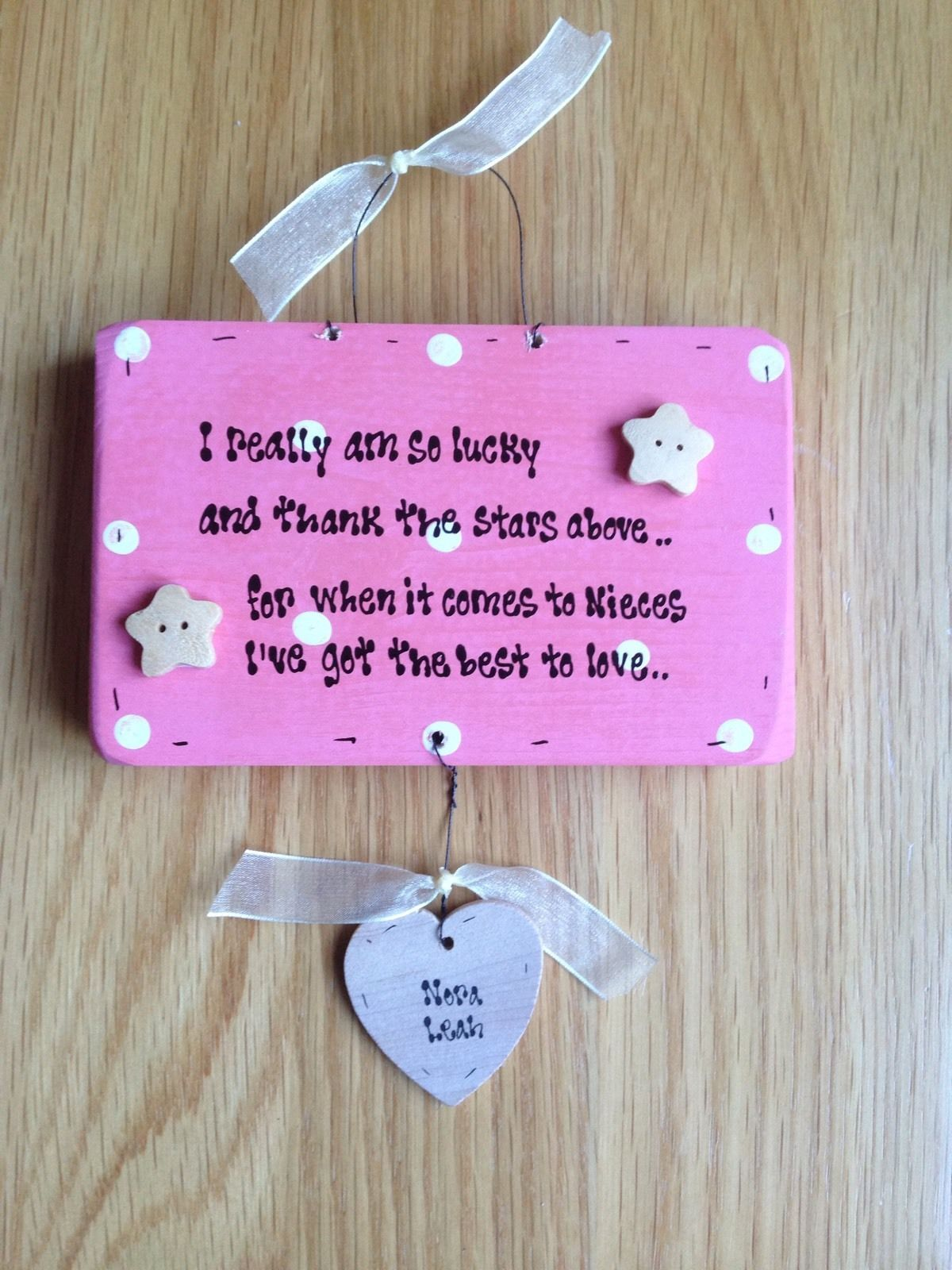 Special Wedding Gifts For Niece : Shabby Wooden chic plaque Special Niece Personalised gift Any Names