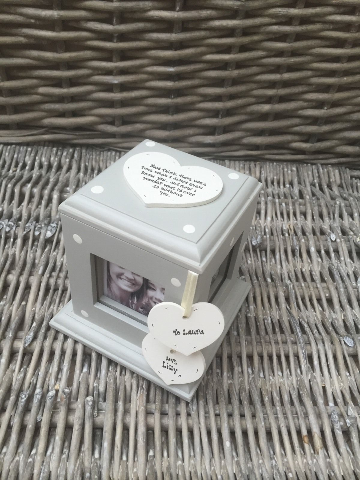 Shabby Chic Style Personalised Birthday Gift Photo Cube Box Special Best Friend