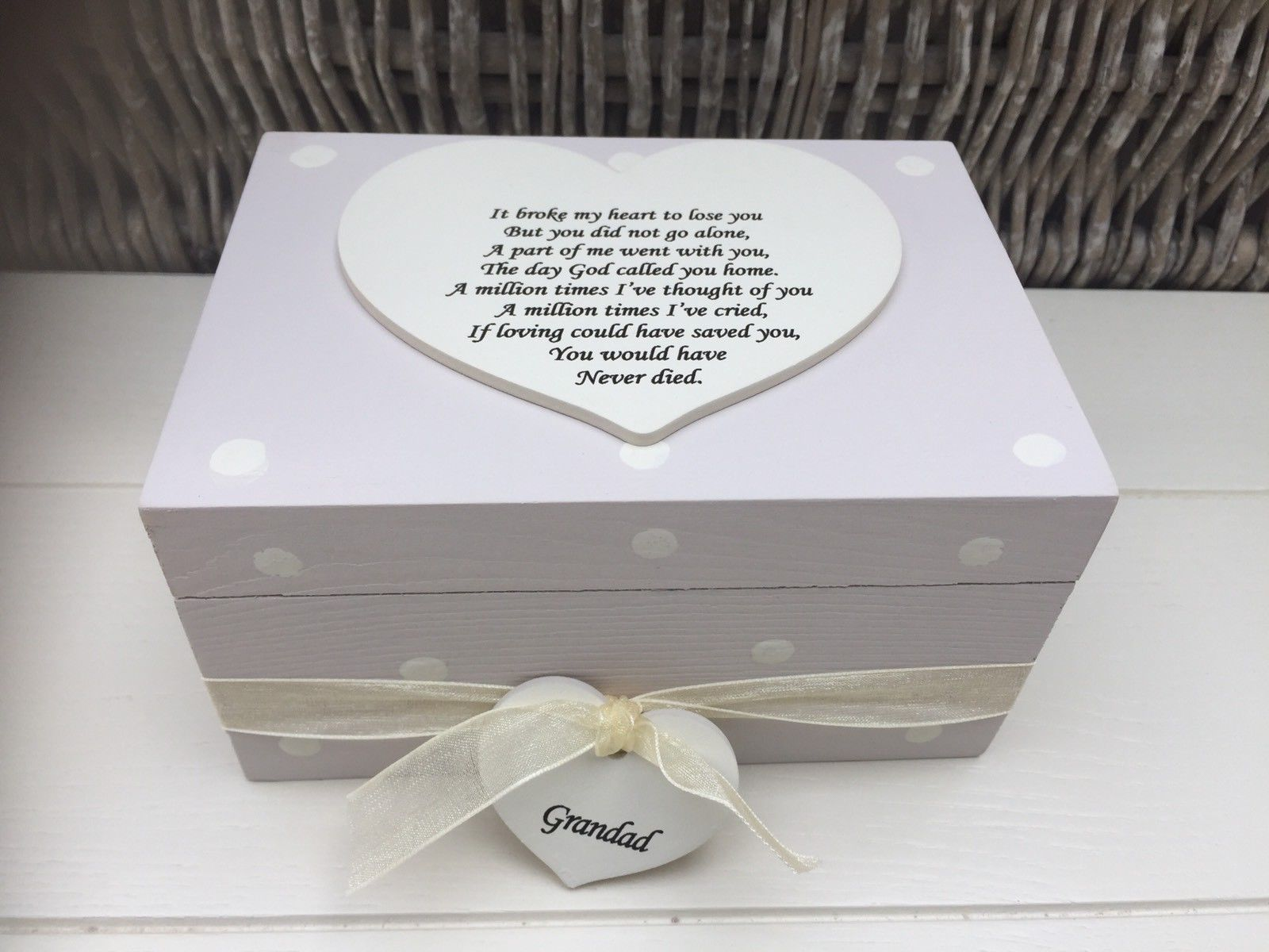 Shabby Personalised Chic Bereavement Memorial Box In Memory Grandad Or Any Name