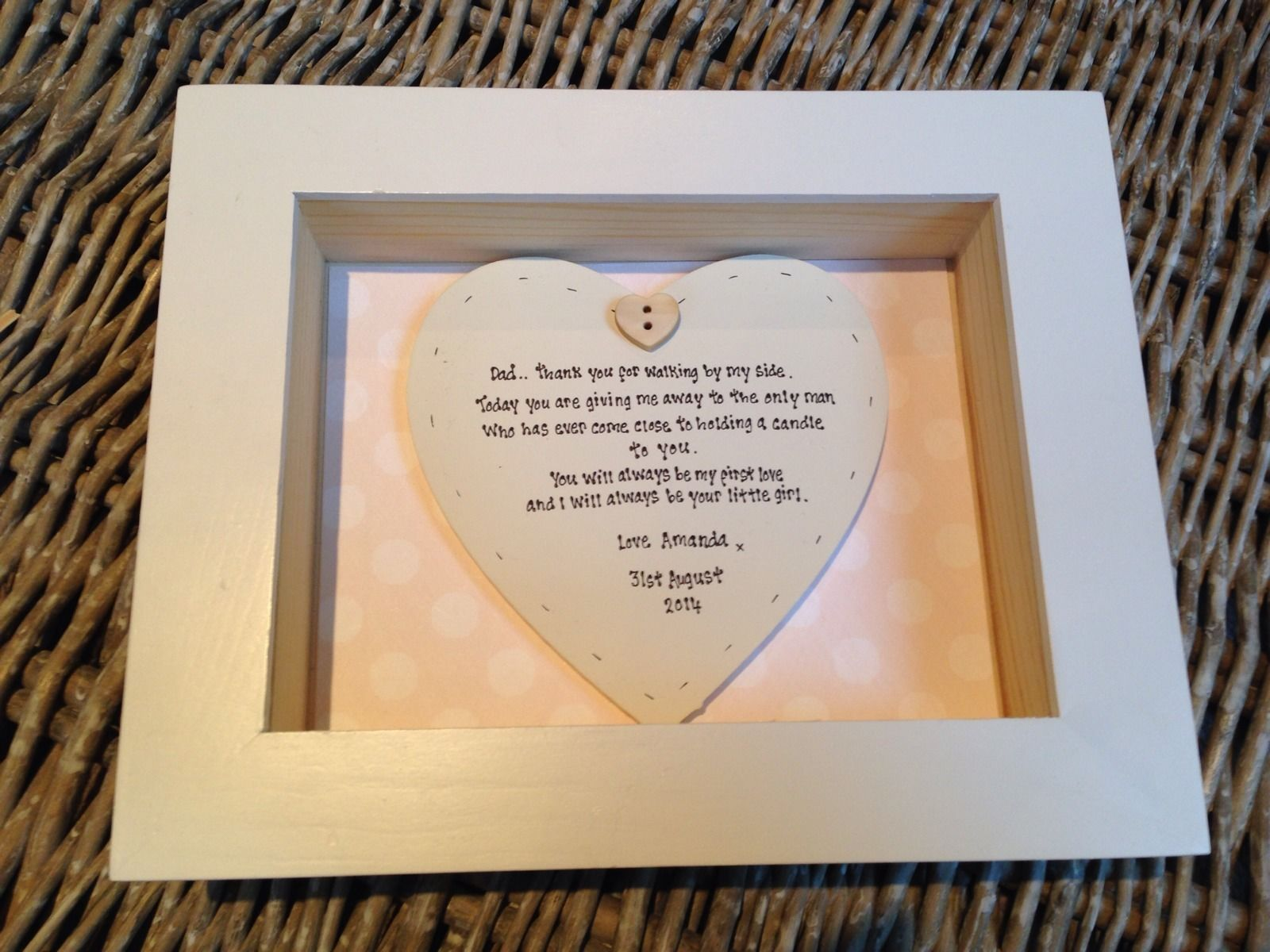 Shabby Personalised Chic Box Frame Gift For Father Of The Bride Dad
