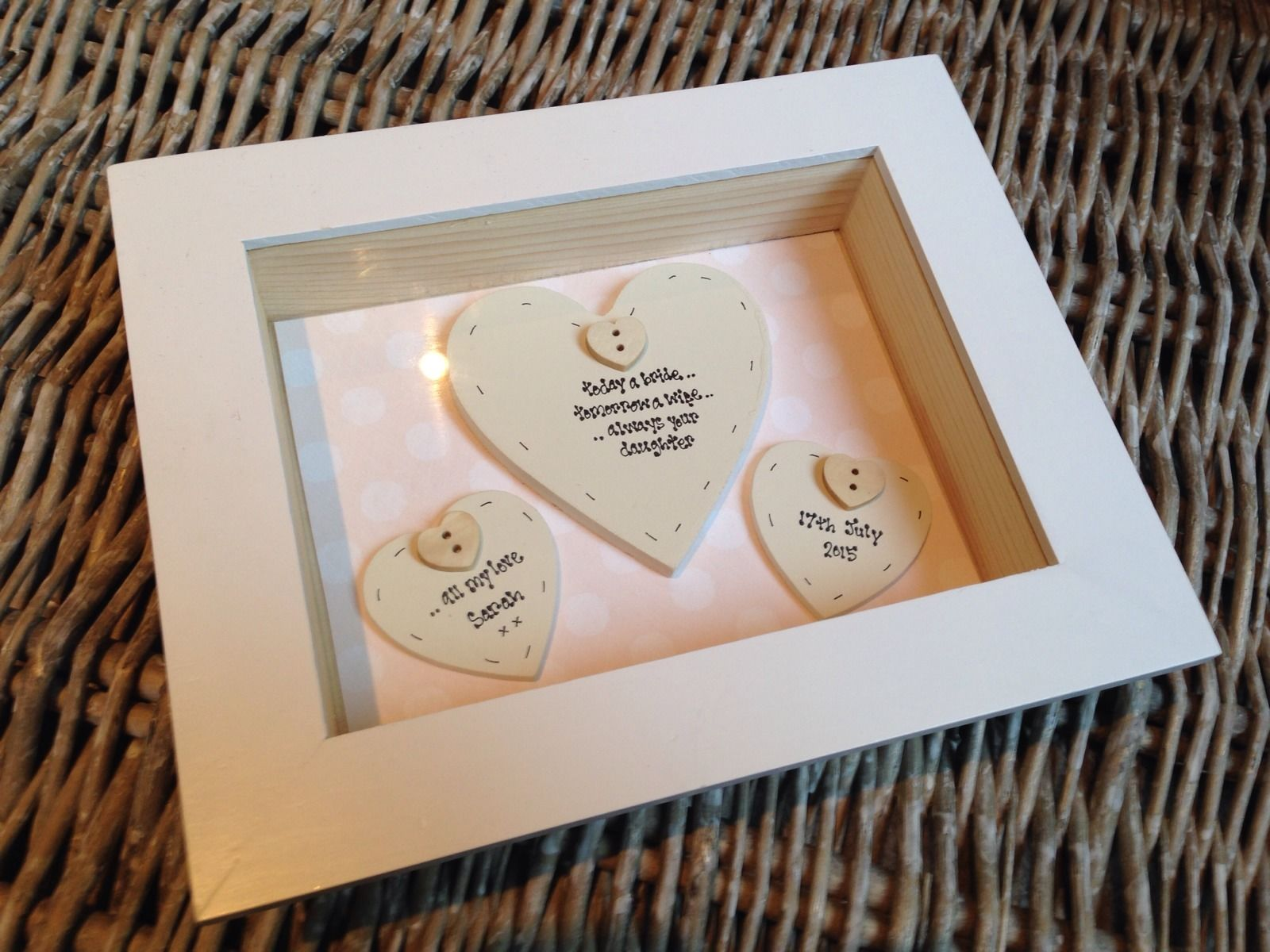 Shabby Personalised Chic Box Frame Gift For Mother Of The Bride Mum