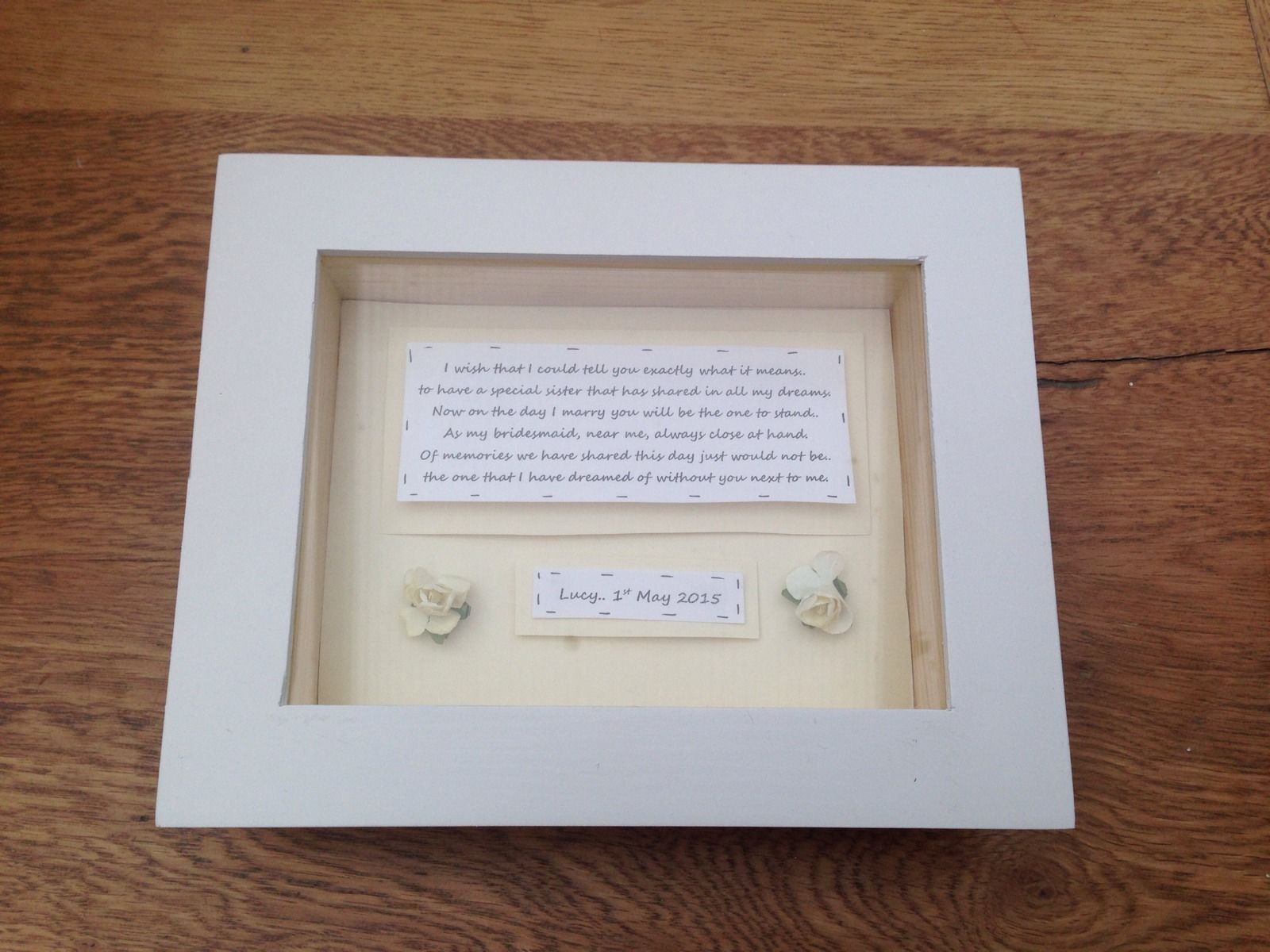 Shabby Personalised Chic Box Frame Gift For Sister Bridesmaid Matron ...