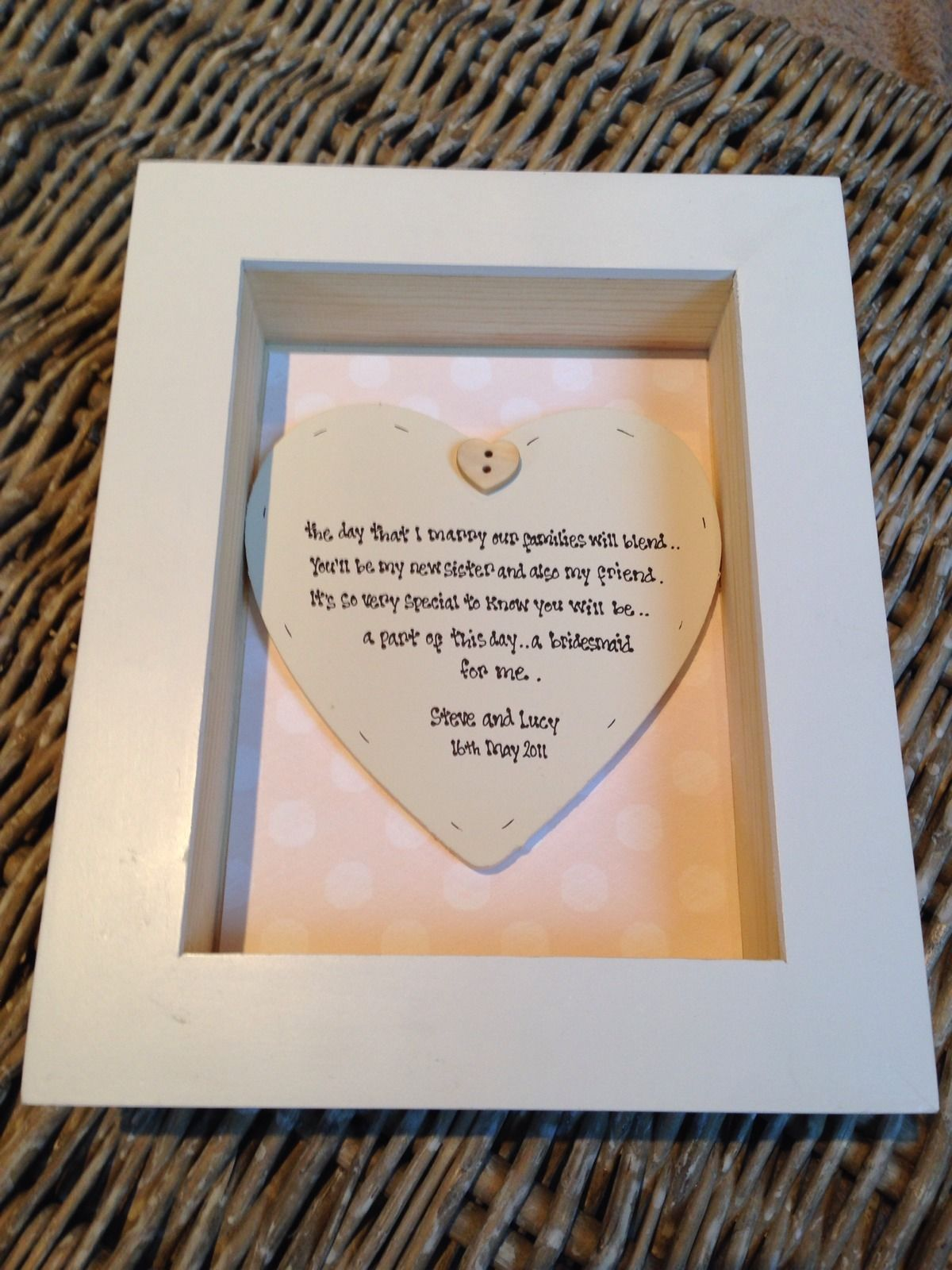 Shabby Personalised Chic Box Frame Gift For Sister In Law Bridesmaid ...