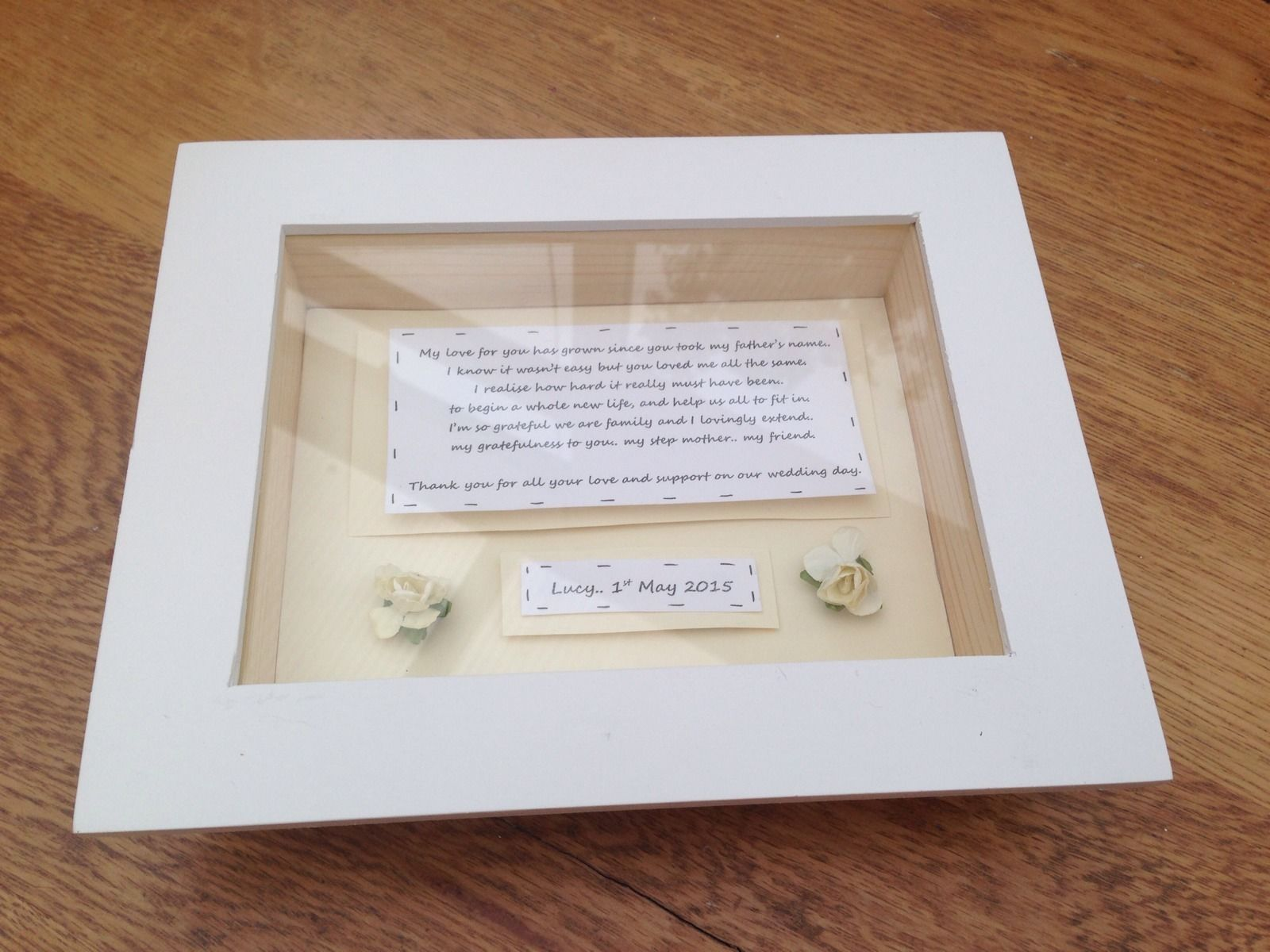 Shabby Personalised Chic Box Frame Gift For Step Mother Of The Bride ...