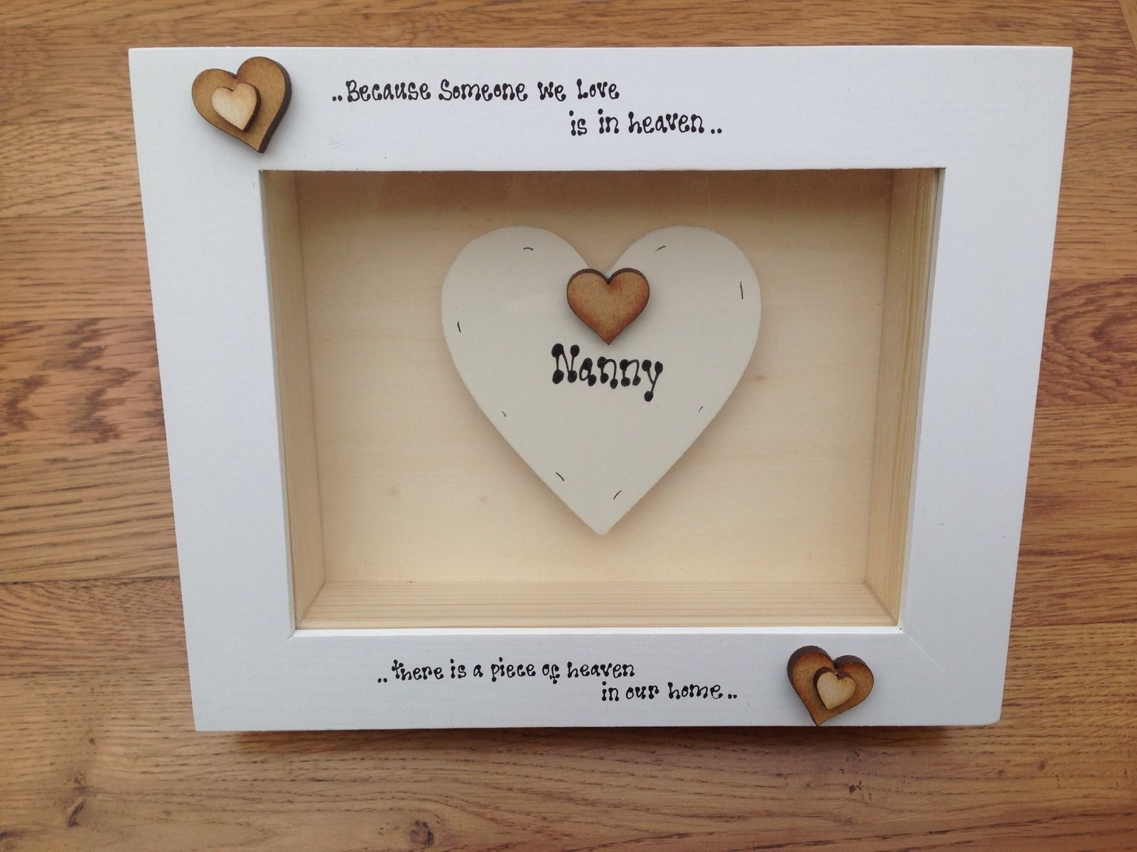 Shabby Personalised Chic Box Frame Gift In Memory Of In Heaven