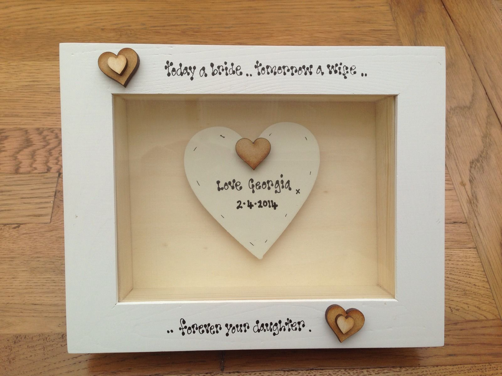 Shabby Personalised Chic Box Frame Gift Mother Of The Bride Mum