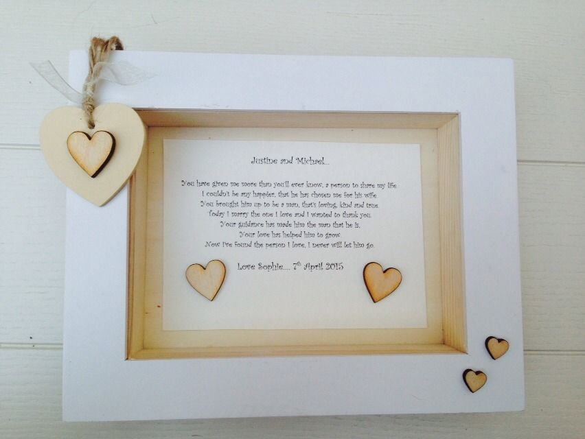 Shabby Personalised Chic Box Frame Present Mother Father Of The