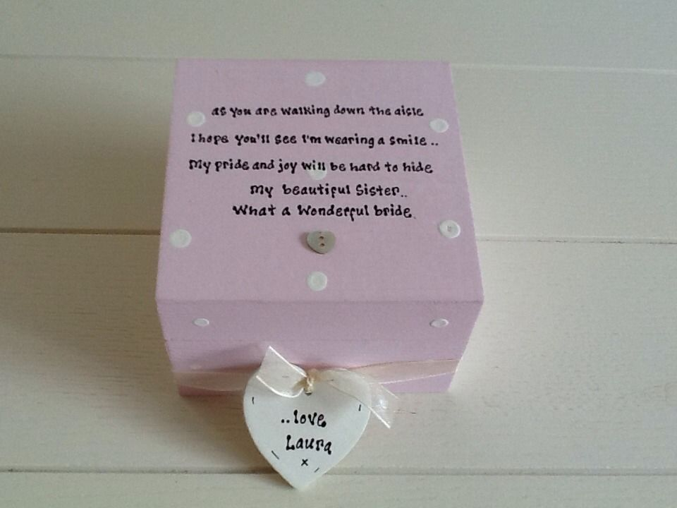 Shabby Personalised Chic Gift Special Sister Bride On Wedding Day