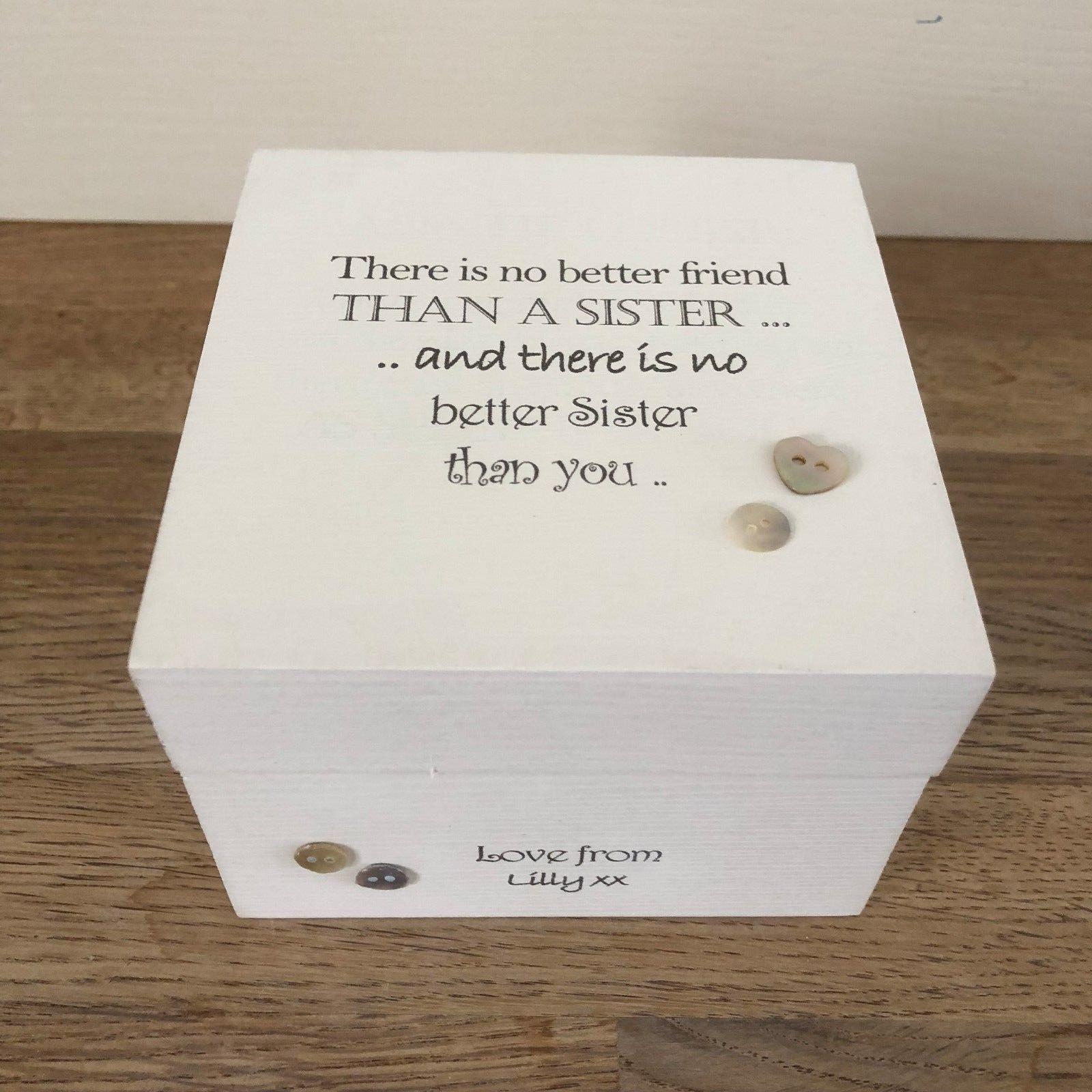 Shabby Personalised Chic Gift Special Sister Trinket Box Birthday Present SISTER