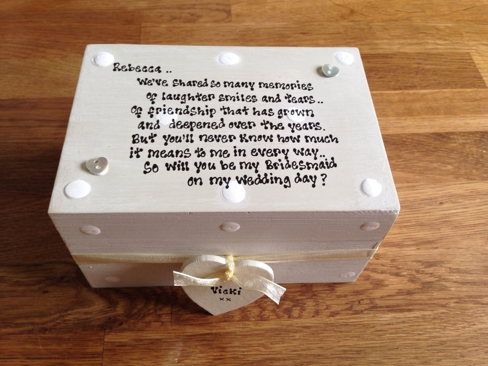 Shabby Personalised Chic Gift Will You Be My Bridesmaid Gift Trinket Box