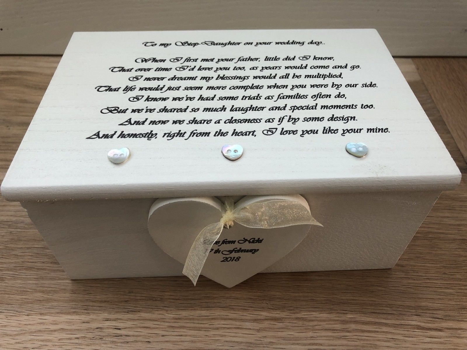 Shabby Personalised Chic Jewellery Box Gift For Step Daughter On Her