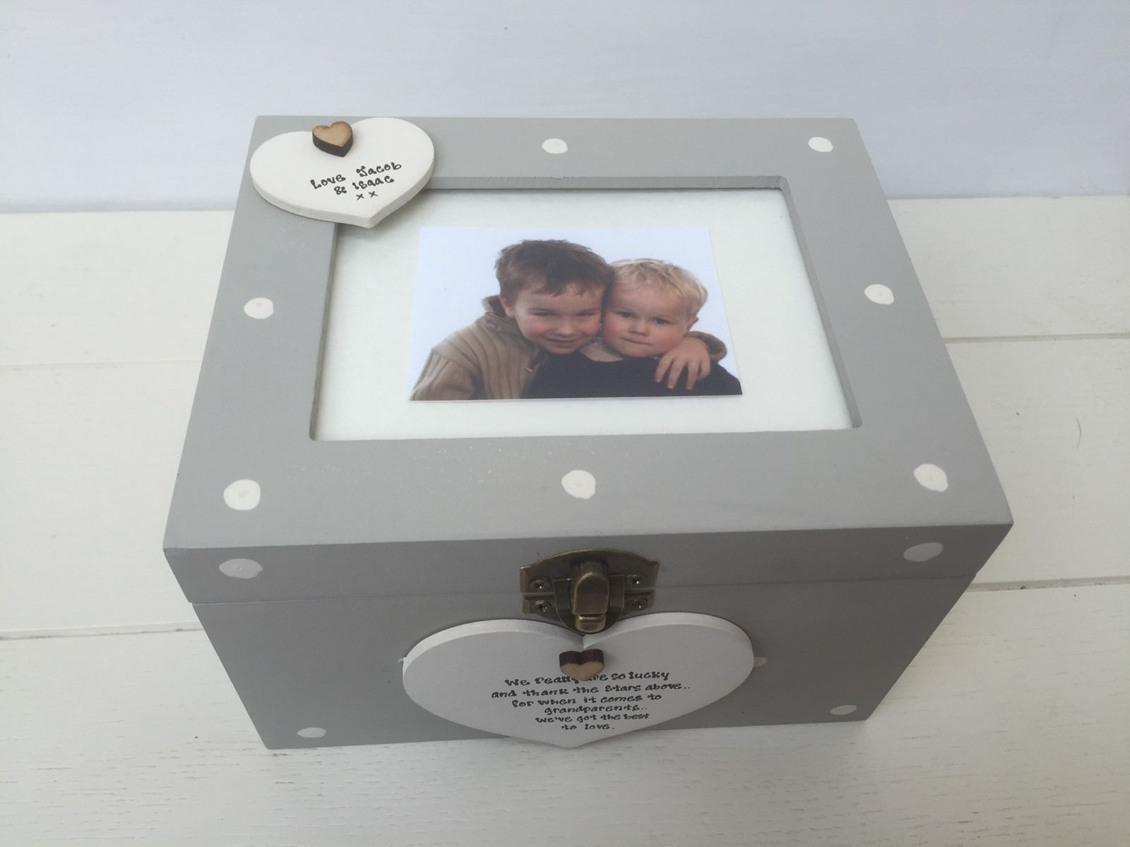 Shabby Personalised Chic Photo Box Glass Frame Lid Nanny Grandad