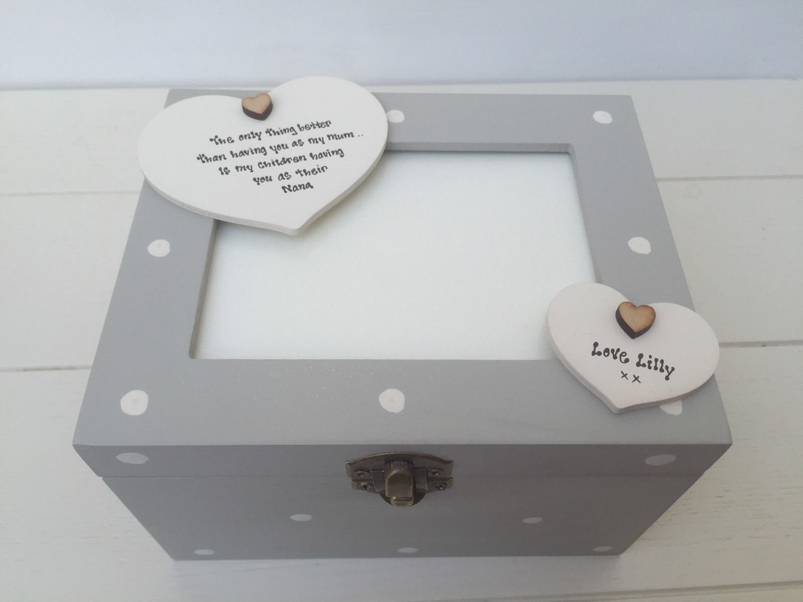 Shabby Personalised Chic Photo Box Glass Frame Lid Nanny Grandma