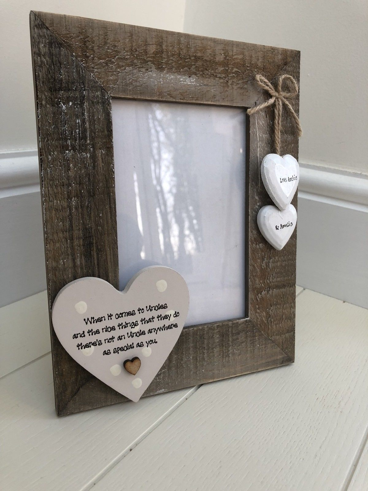 Shabby Personalised Chic Photo Frame Special Uncle Gift Present Birthday