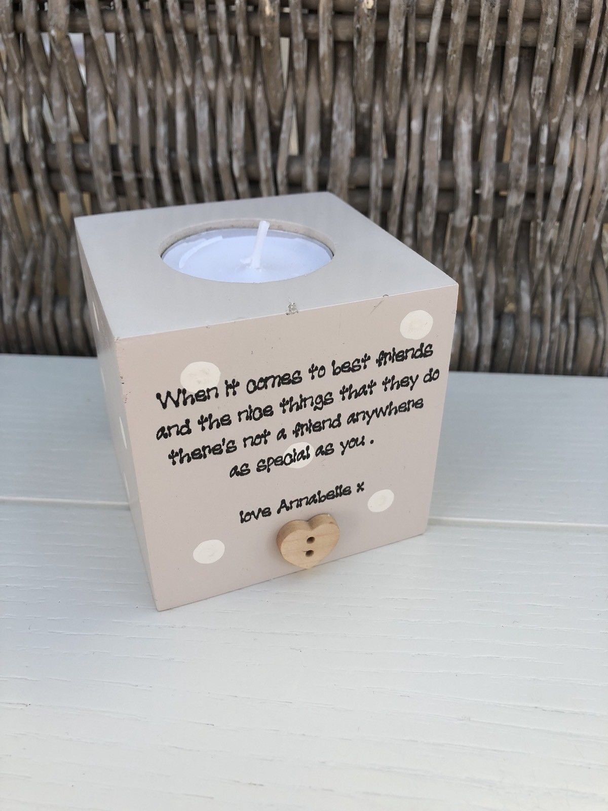 Shabby Personalised Chic Special Best Friends Candle Gift Birthday Present