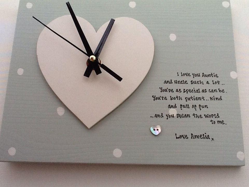 Shabby Personalised Gift Chic Clock Special Auntie Uncle