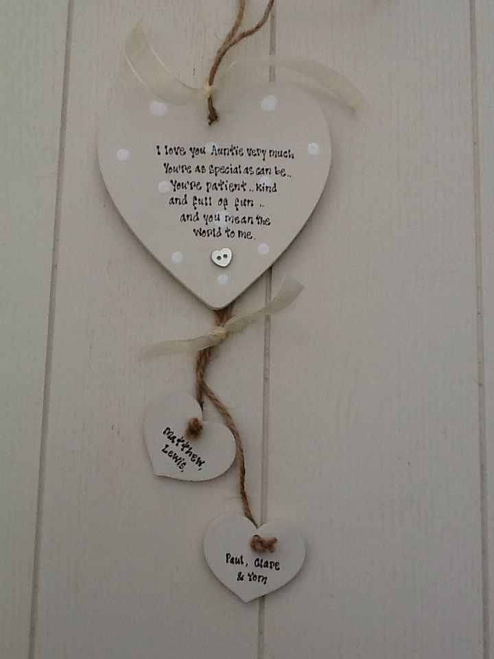 Shabby Personalised Gift Chic Heart Plaque Auntie Aunty Great Aunt Birthday