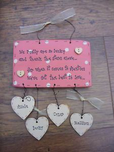 Shabby Personalised wooden chic plaque Aunty Auntie..